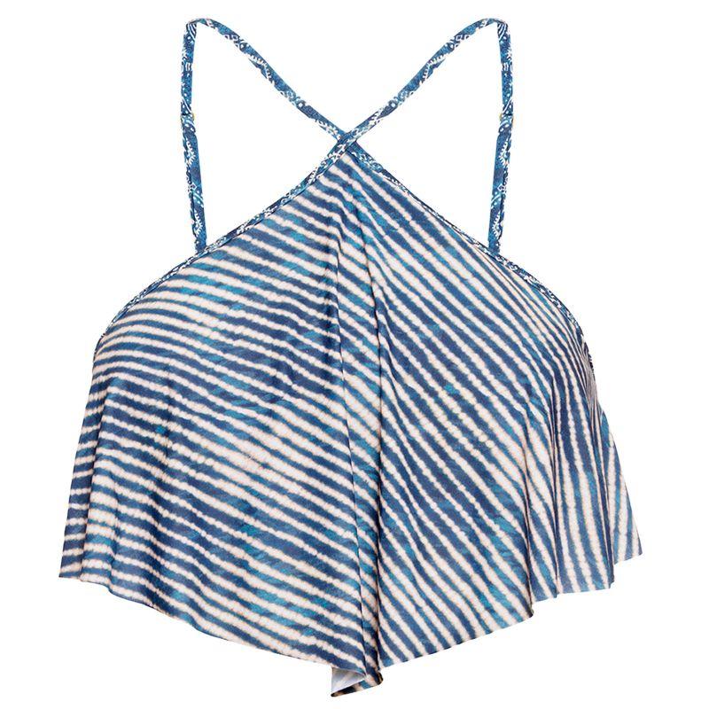 Blue striped flounce crop bikini top - SOUTIEN LAZEL FLOTTER