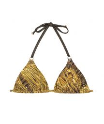 Gold printed triangle bikini top with ring detail - SOUTIEN CORTININHA ARGOLA RELUZENTE