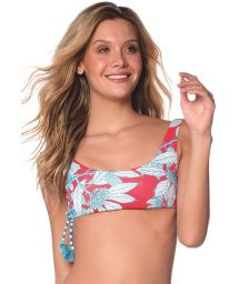 Haut brassière floral rouge/turquoise - TOP FLORA TURQUOISE GARDEN AMERICAN