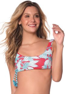 Red and turquoise bra bikini top in floral print - TOP FLORA TURQUOISE GARDEN AMERICAN