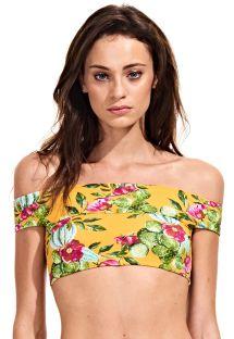Crop top -bikinin yläosa, bardot-pääntie, keltainen kukkakuosi - SOUTIEN CACTUS FLORAL