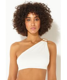 Asymmetrisches Luxus-Crop-Top in Ecru - TOP ASSIMETRIA OFF-WHITE