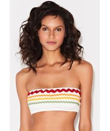 White bandeau top with embroidered colorful braids - TOP BAND OFF