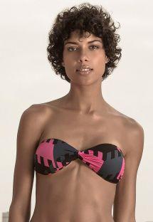 Tri-color geometric luxury bandeau bikini top - TOP GEOMETRIC NEON