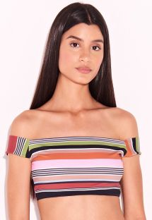 Crop top lusso a strisce multicolore - TOP LISTRAS KITTY