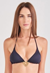 Black accessorized triangle bikini top - TOP SUN KISS PRETO