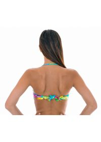Twisted bandeau top with tropical flowers - SOUTIEN TROPICAL BLUE TOMARA QUE CAIA