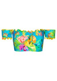 Multicoloured bandeau top in tropical print with mini-sleeves - SOUTIEN TROPICAL BLUE OMBRO A OMBRO