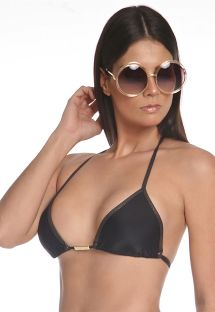 Black sliding bikini top with shining borders - TOP LUREX DOURADO
