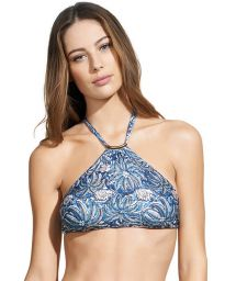 Blue leaf-print swimsuit crop top - SOUTIEN JAKARTA THAI HALTER