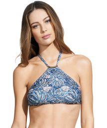 Blue leaf-print swimsuit crop top - SOUTIEN JAKARTA THAI HALTER