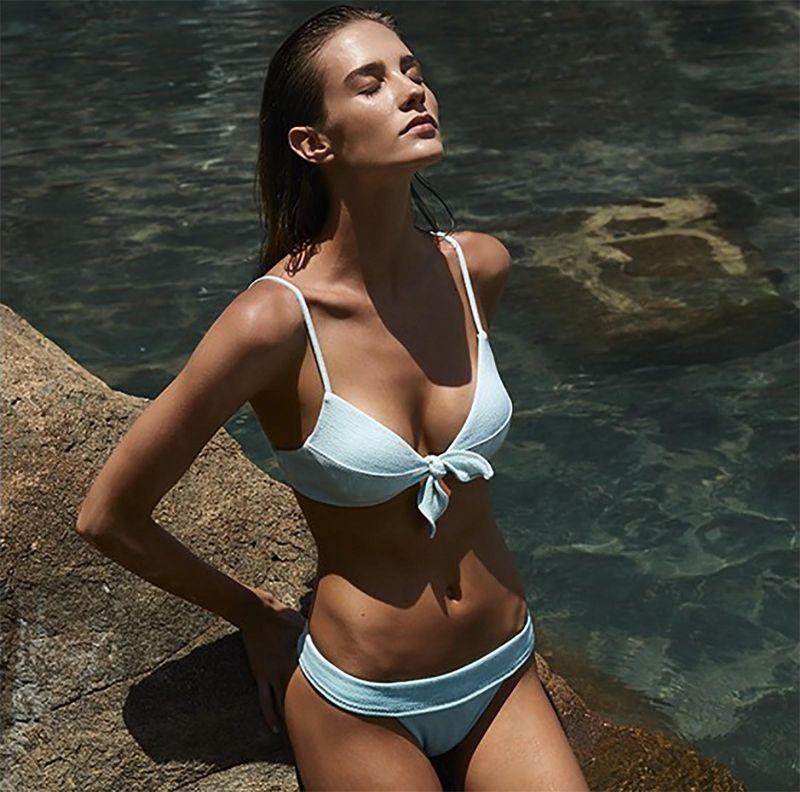 Luxurious pale blue bikini top - TOP BOUCLE KNOT BRALETTE MALDIVES
