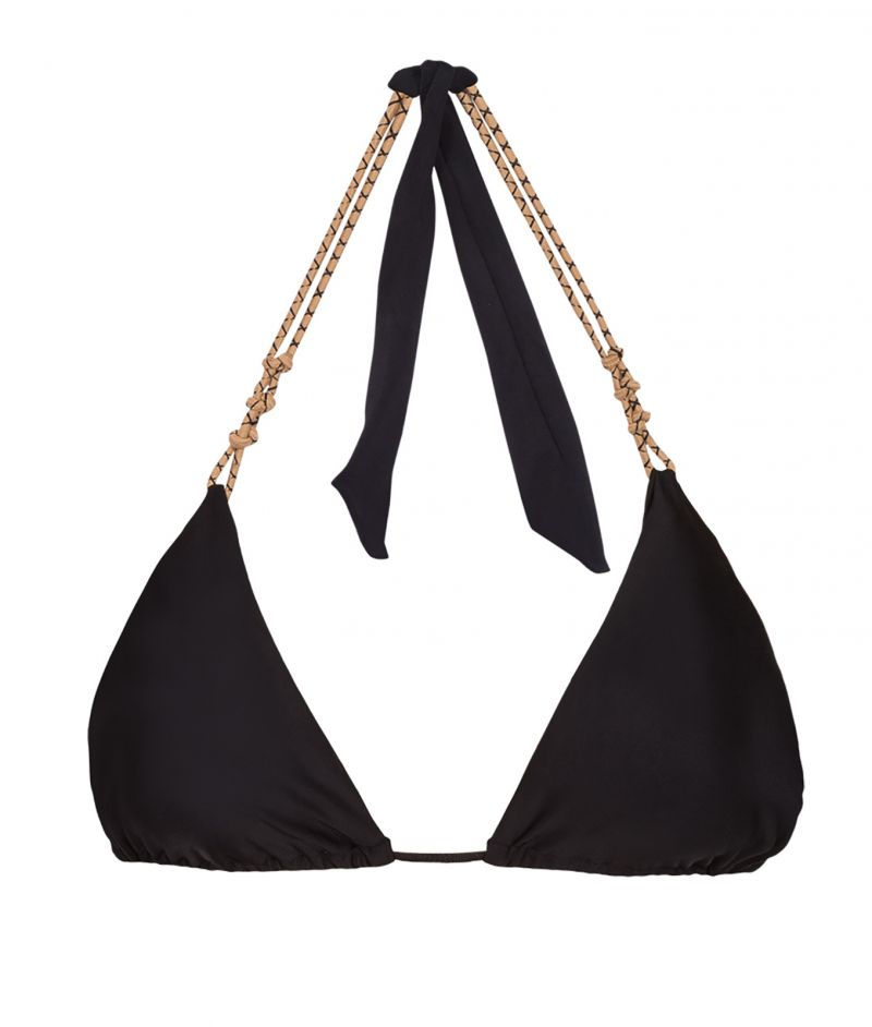 Luxurious black bikini top with rope leather ties - TOP NUDE ROPE KNOT TRI BLACK