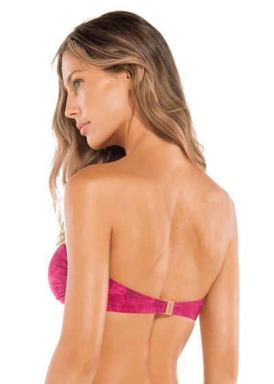Fuchsia pink bandeau top with tie-dye effect - TOP PLEATS BANDEAU FUCSIA
