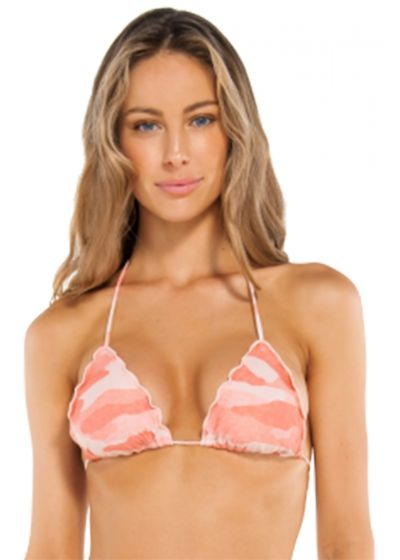 Accessorized pink camo triangle top with wavy edges - TOP RIPPLE CAMU