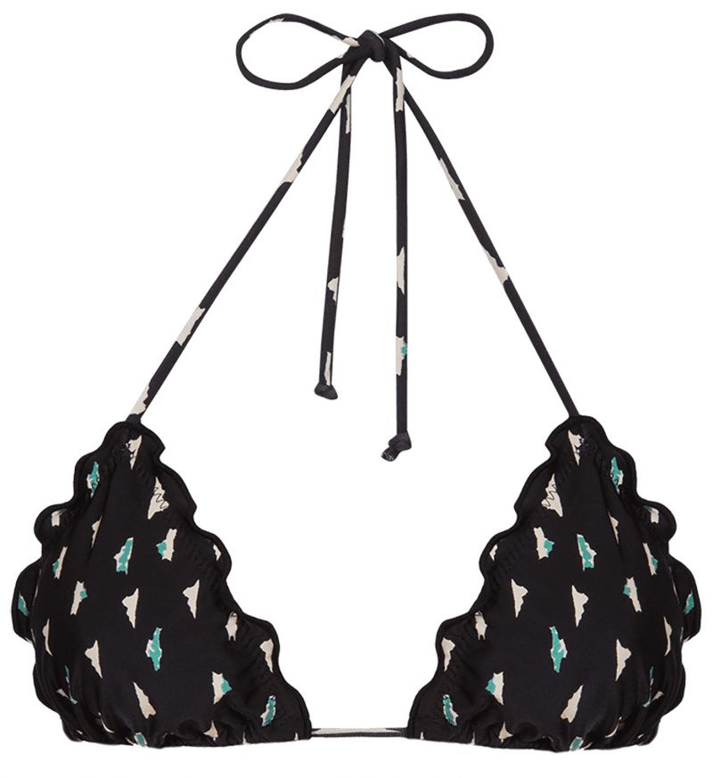 Black patterned Brazilian bikini top - TOP RIPPLE TRI DOLCE