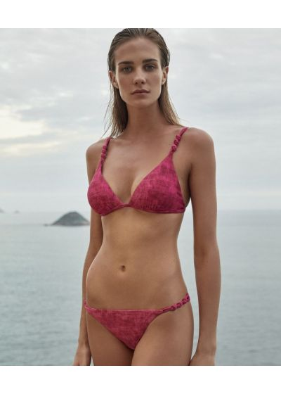 Fuchsia pink triangle top with knotted sides - TOP ROPE FUCSIA