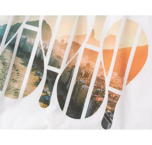 White T-shirt with frescobol / sunset print - T-SHIRT REGULAR AMANHECER