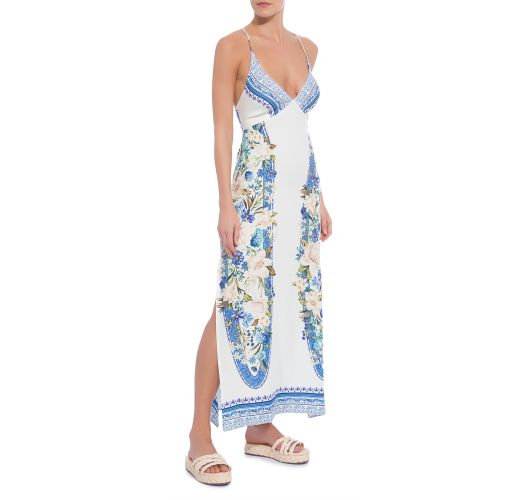 Long white dress with flowers and laced back - VESTIDO FARM RETO FENDA FLORAL TAVIRA