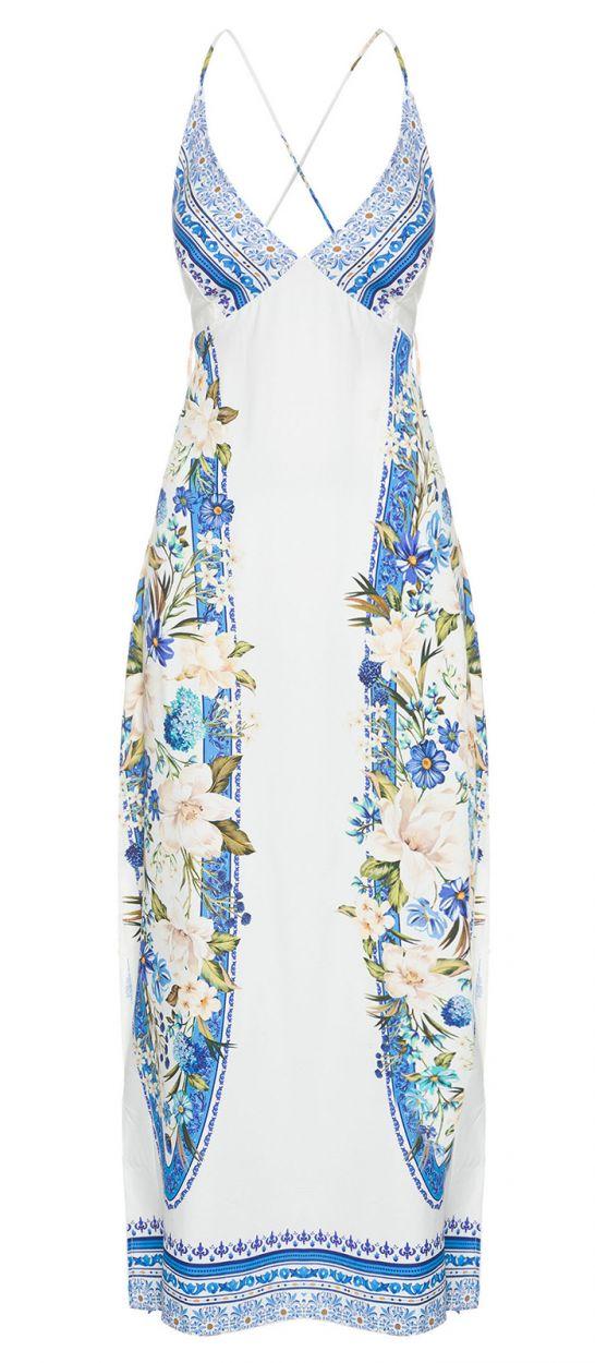 Long white dress with flowers and laced back - VESTIDO FARM RETO FENDA FLORAL TAVIRA