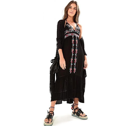 Long black beach dress with embroidery - VESTIDO LONGO FARM FRENTE ÚNICA - PRETO