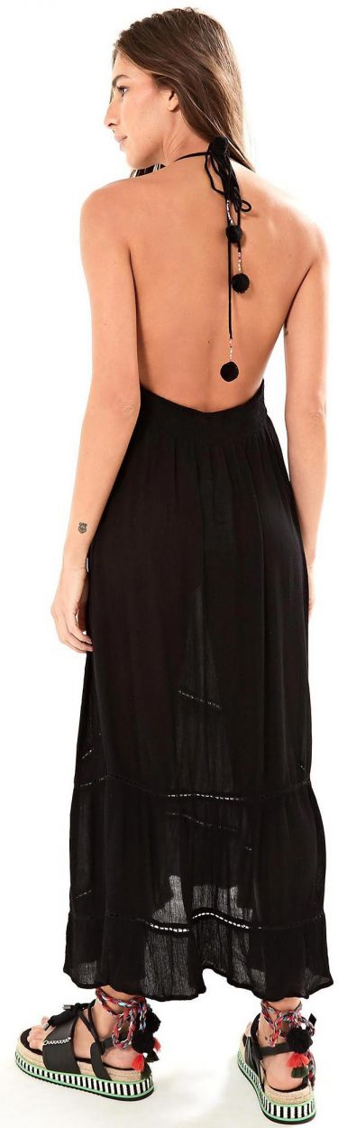 Long black beach dress with embroidery - VESTIDO LONGO FARM FRENTE ÚNICA - PRETO
