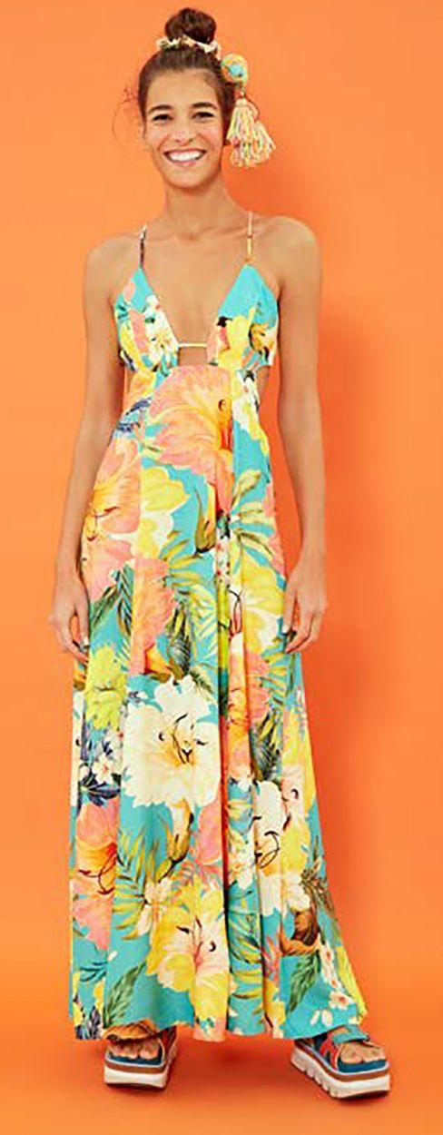 Long floral deep neckline beach dress - VESTIDO LONGO FARM MAXI FILIPINAS - MULTICOLORIDO