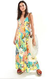 Vestido largo de playa escote profundo  floral - VESTIDO LONGO FARM MAXI FILIPINAS - MULTICOLORIDO