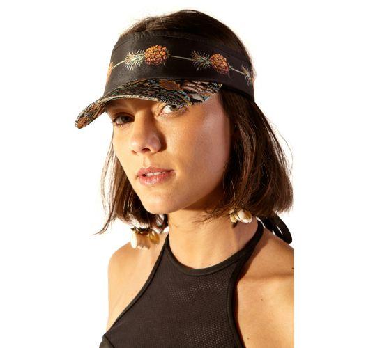 Black and ocher printed visor cap - VISEIRA KALI KASUTI