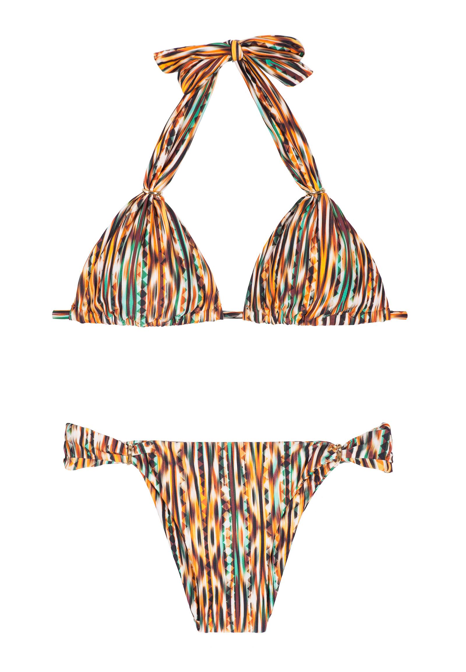 Adjustable Triángulo Forma Y Anillas Thay Halter Con Doradas Ajustable Bikini Estampado Étnico y0NPn8wmOv