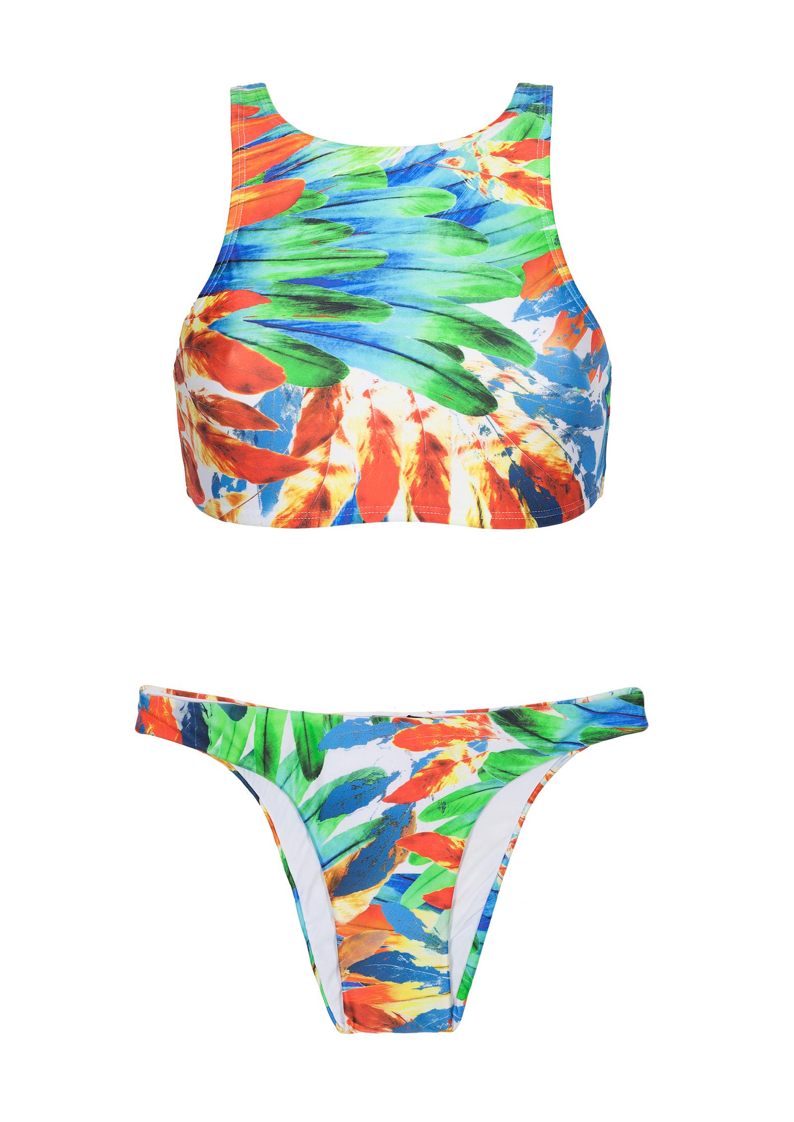 Y Crop Dos Fija Athletic Top New Bikini PiezasBraguita Con De Estampado Imperial Plumas Forma dWrCxBeo