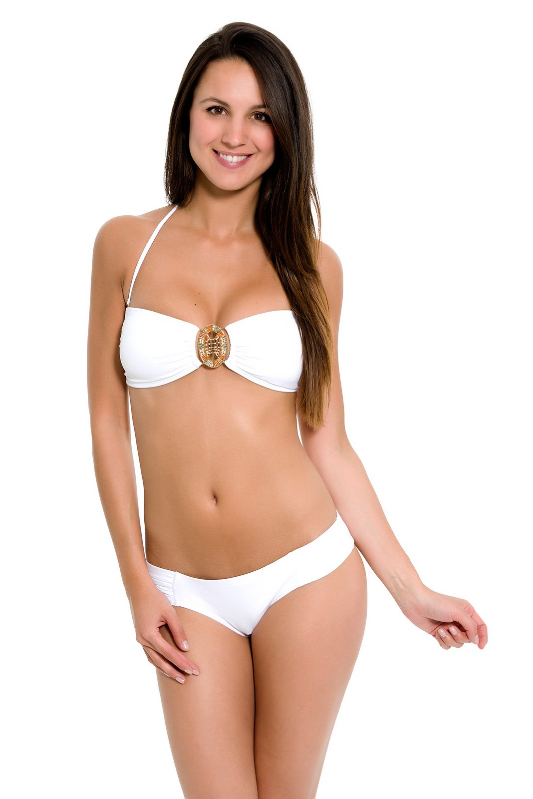 white bandeau style swimsuit with beaded jewel evy magestic. Black Bedroom Furniture Sets. Home Design Ideas
