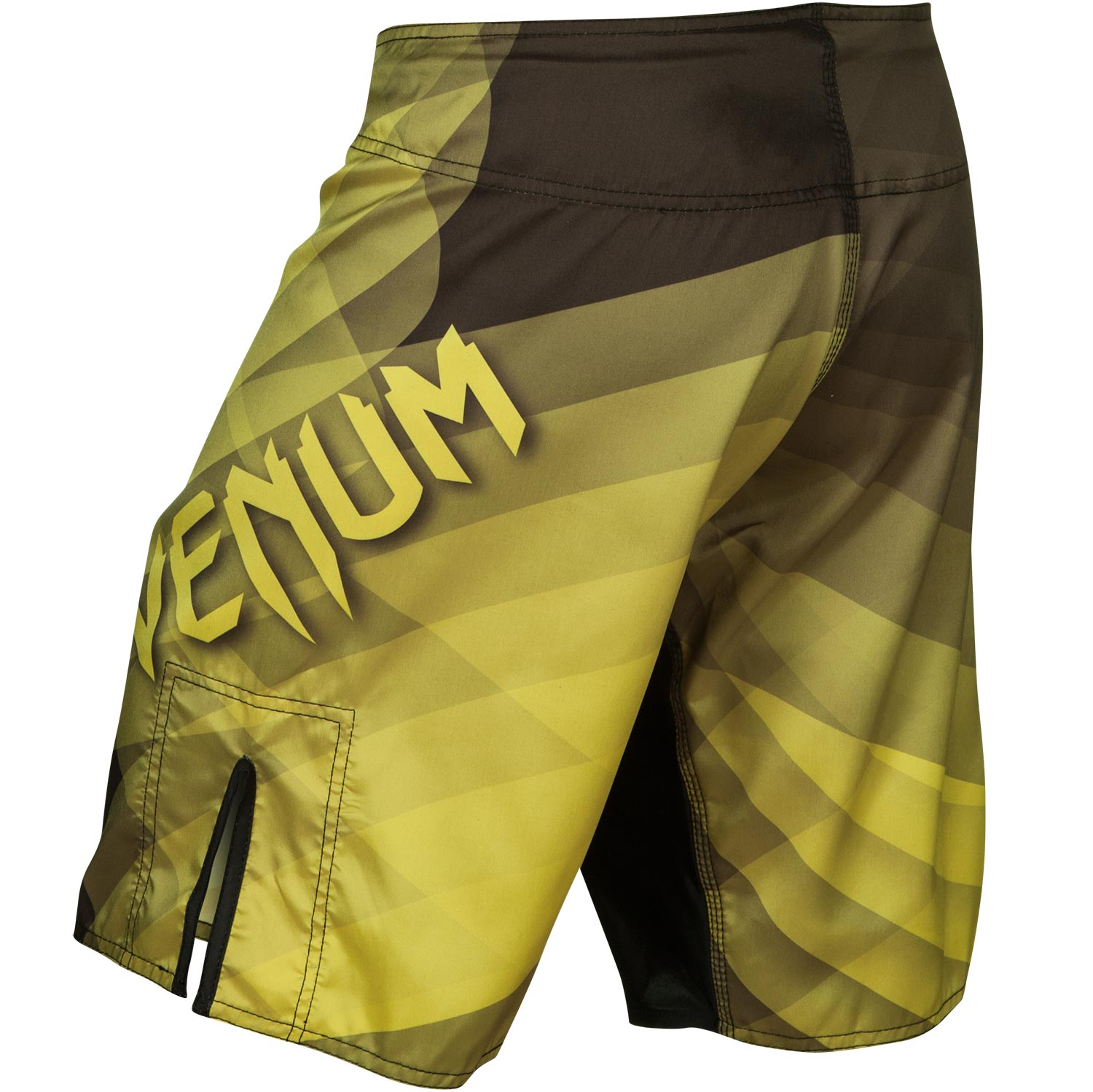 venum logo fight shorts in varying shades of yellow