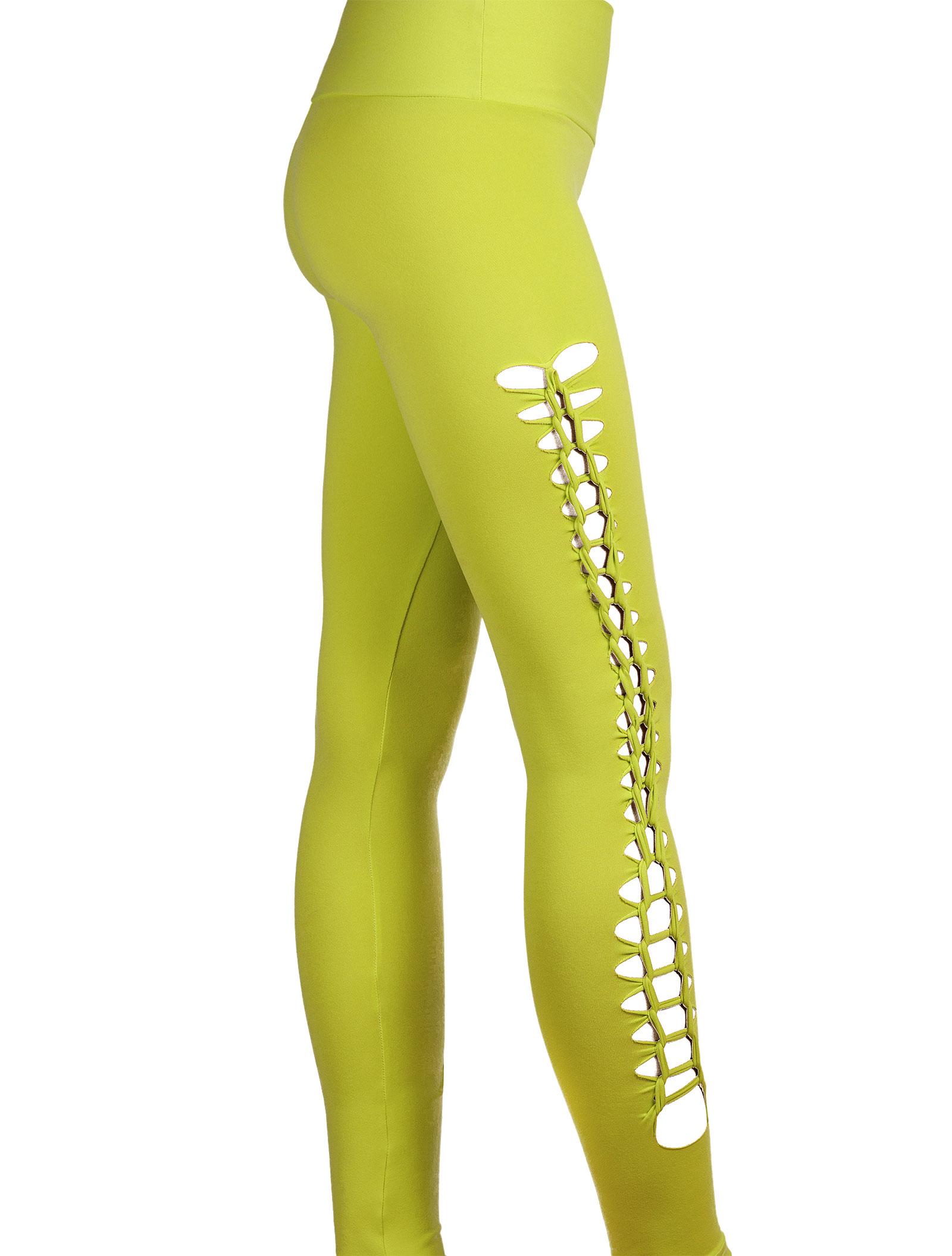 Fitness bottom Lime Green Openwork Workout Leggings Tresse ...