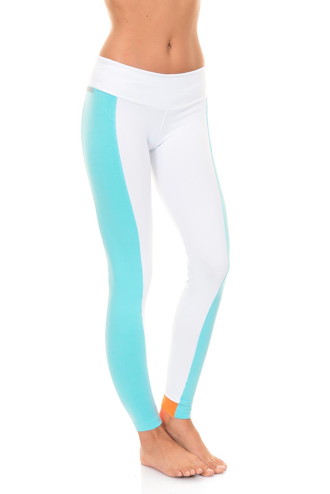 ccm wei e fitness leggings mit blauen streifen sonora. Black Bedroom Furniture Sets. Home Design Ideas
