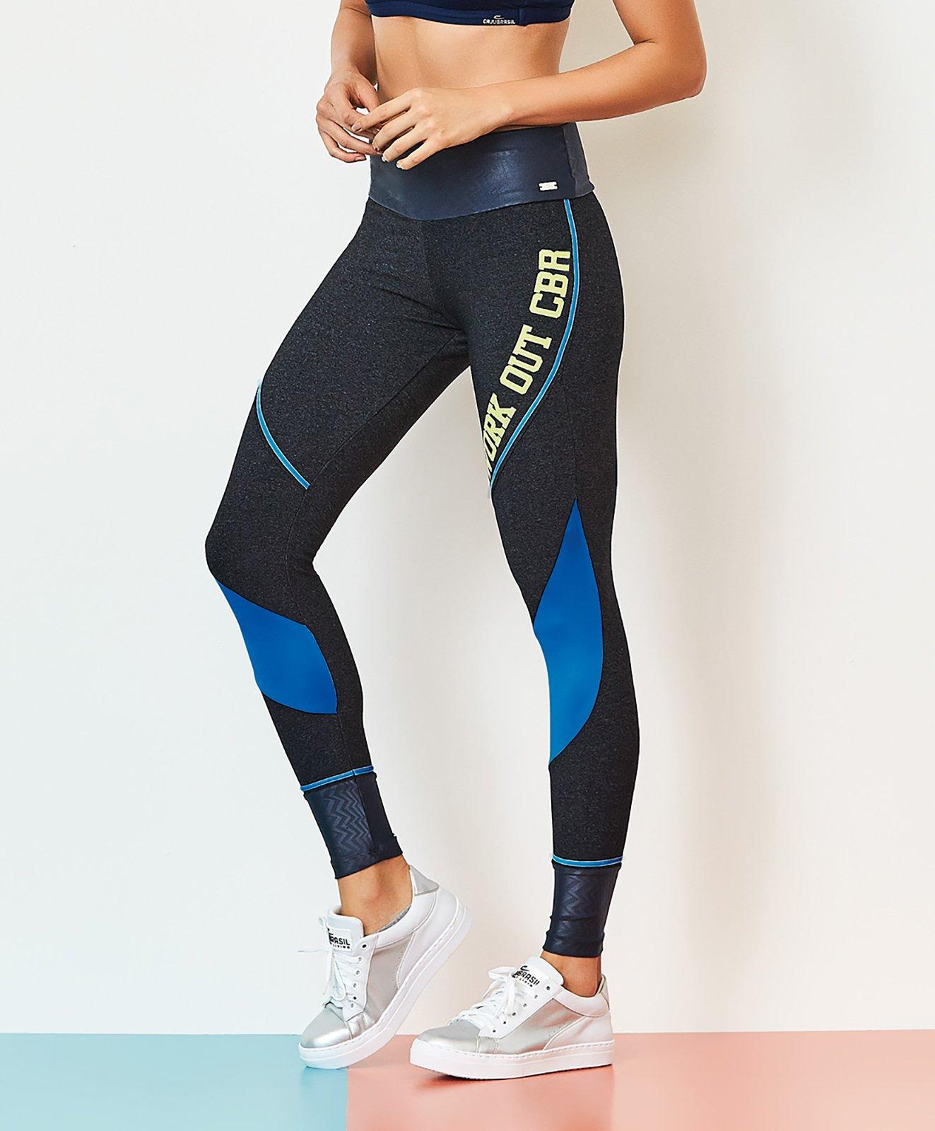 Fitness Leggings Material: Fitness-leggings, Blau, Bi-material Mit Aufschrift