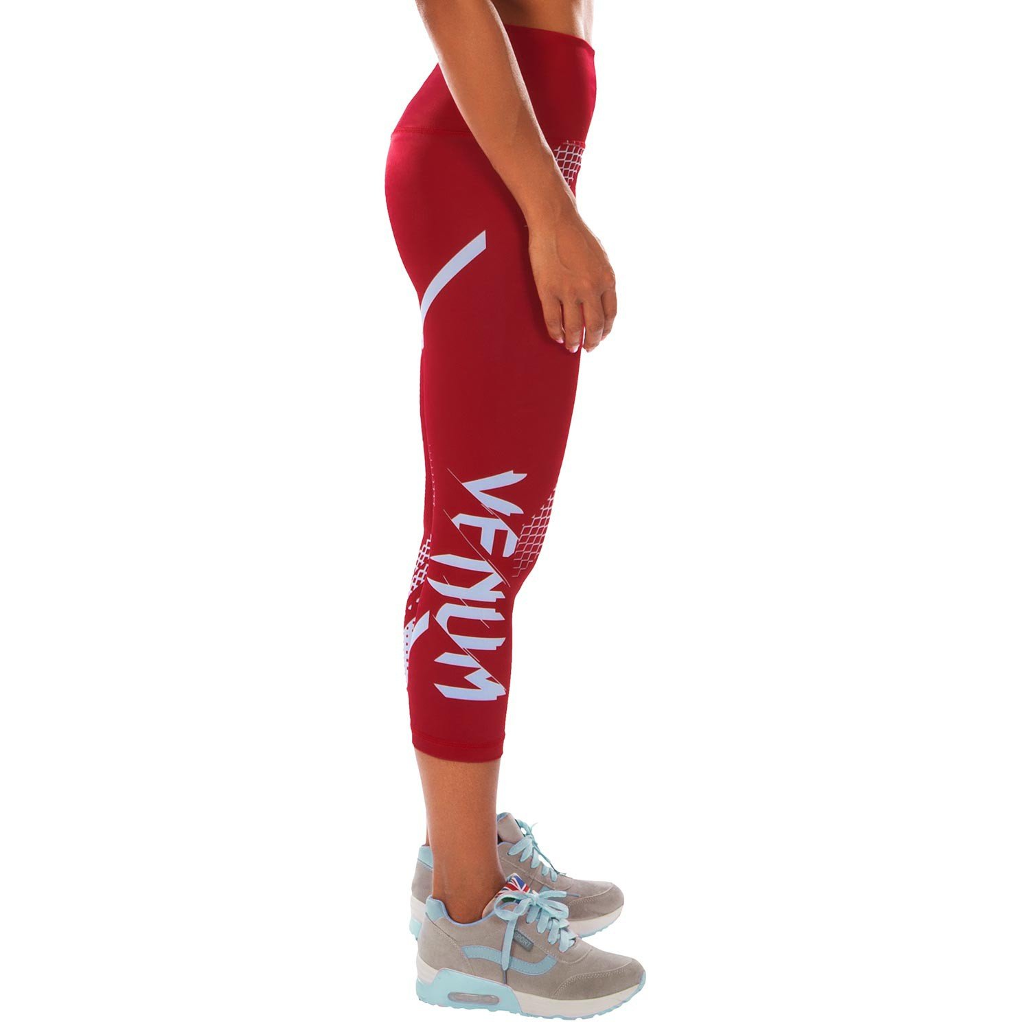 Red/white Geometric Print Athletic Capris - Rapid Leggings Crops Coral