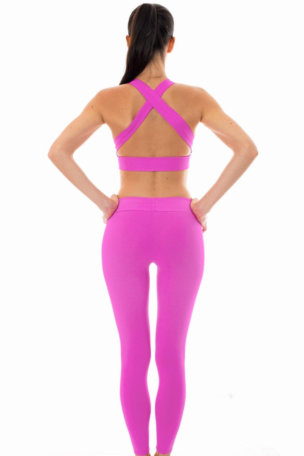 1248681ae79 Αθλητικό σύνολο με μπουστάκι και κολάν σε ροζ χρώμα - Nz Glam ...