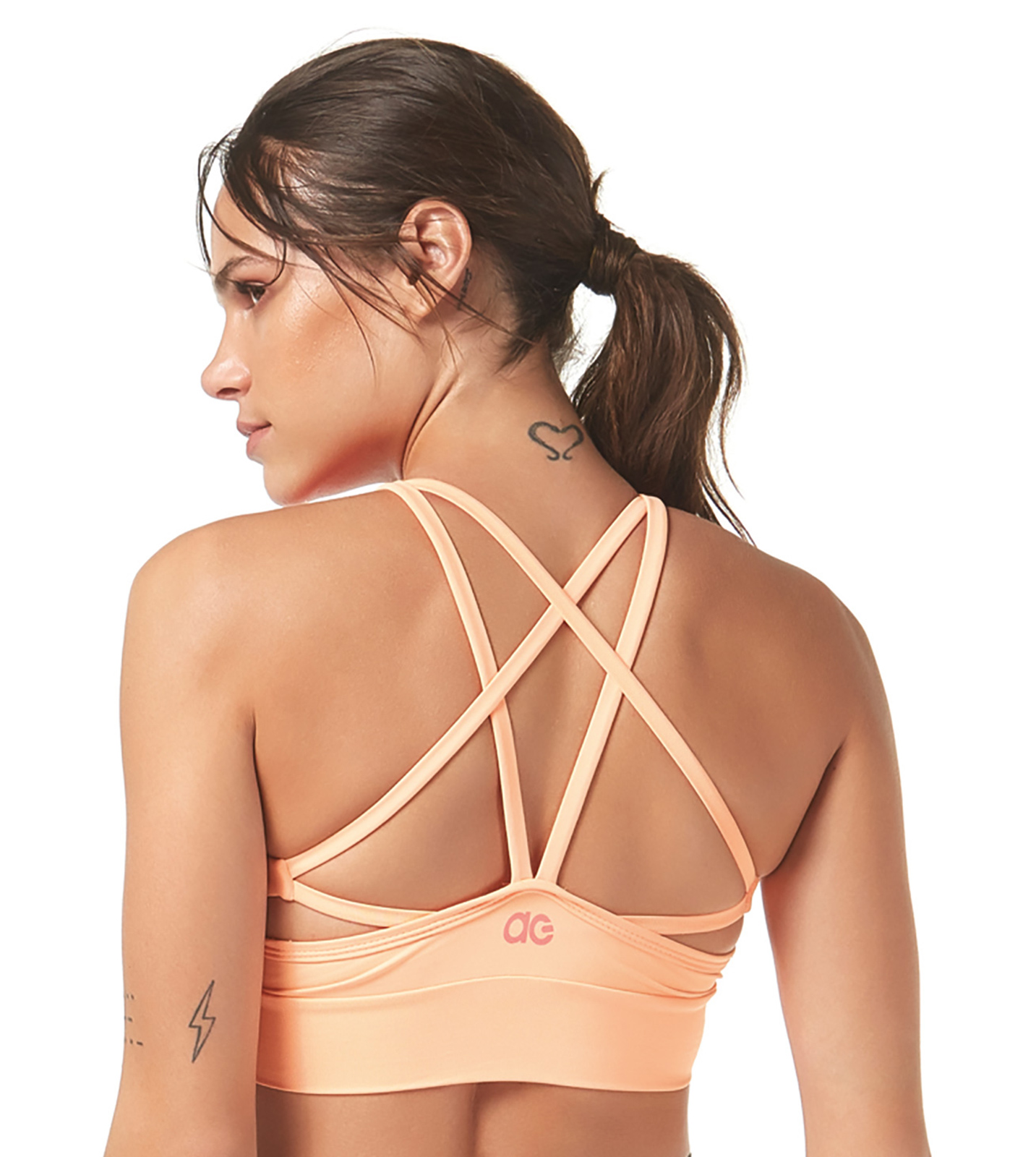 85c843008b453 Light Orange Sport Crop Top With Strappy Detail Back - Top Degrade ...