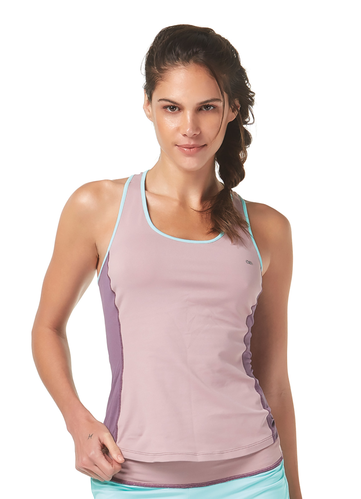 9ed14eeadac55 Fitness top Two-toned Mauve Racer-back Fitness Vest Top - Top Running