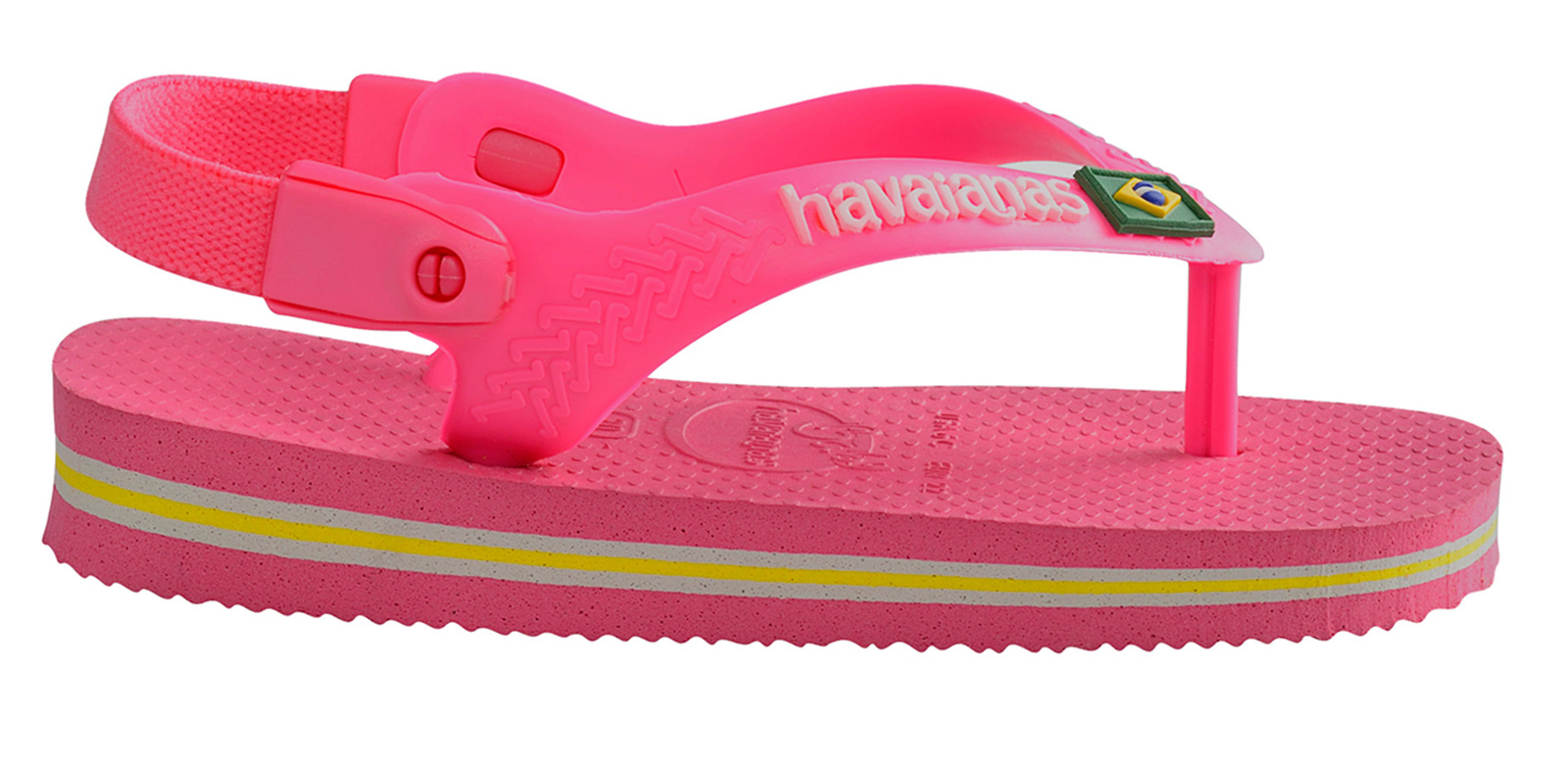 tongs sandales havaianas roses pour b b baby brasil logo shocking pink. Black Bedroom Furniture Sets. Home Design Ideas