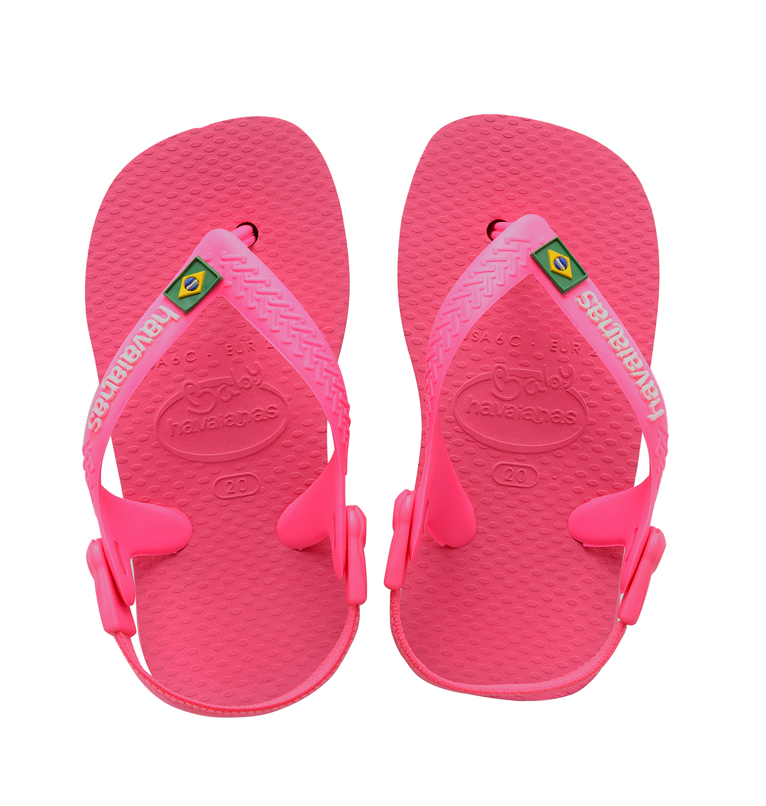 4292483a13d9 ... Pink Havaianas sandal flip flops for babies - Baby Brasil Logo Shocking  Pink ...