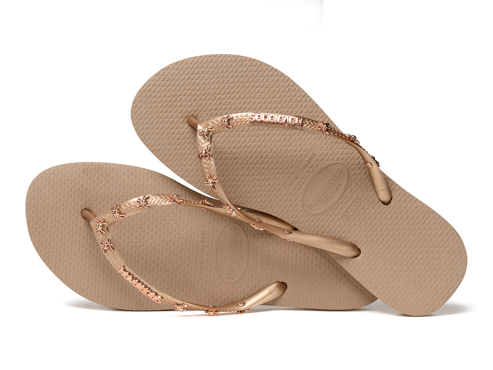 beige flip flops with spider straps - slim hardware rose gold metallic