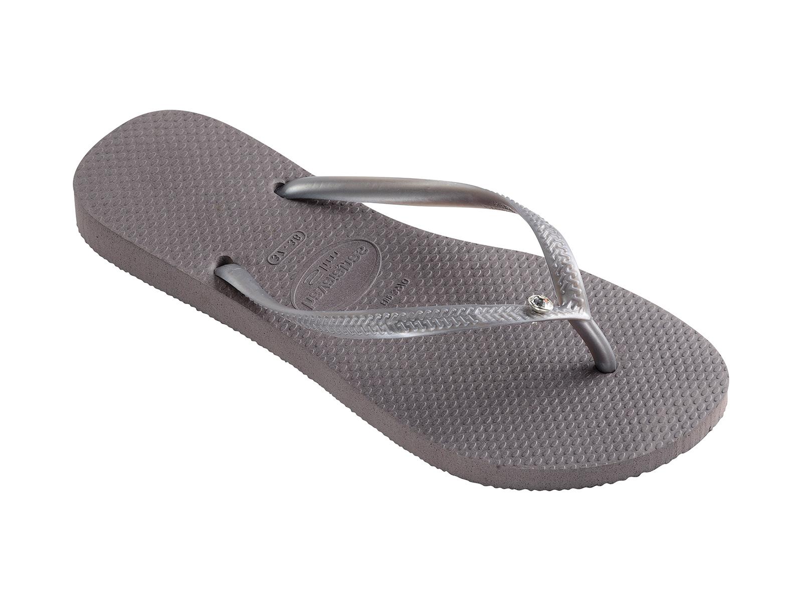 d2b0191b204 Grey Flip-flops Decorated With Swarovski Crystals - Slim Crystal Glamour Sw  Fog - Havaianas