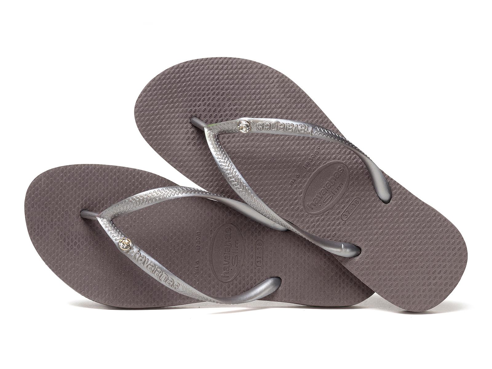 f5af4824b4c5 ... Grey flip-flops decorated with Swarovski crystals - Slim Crystal Glamour  Sw Fog ...