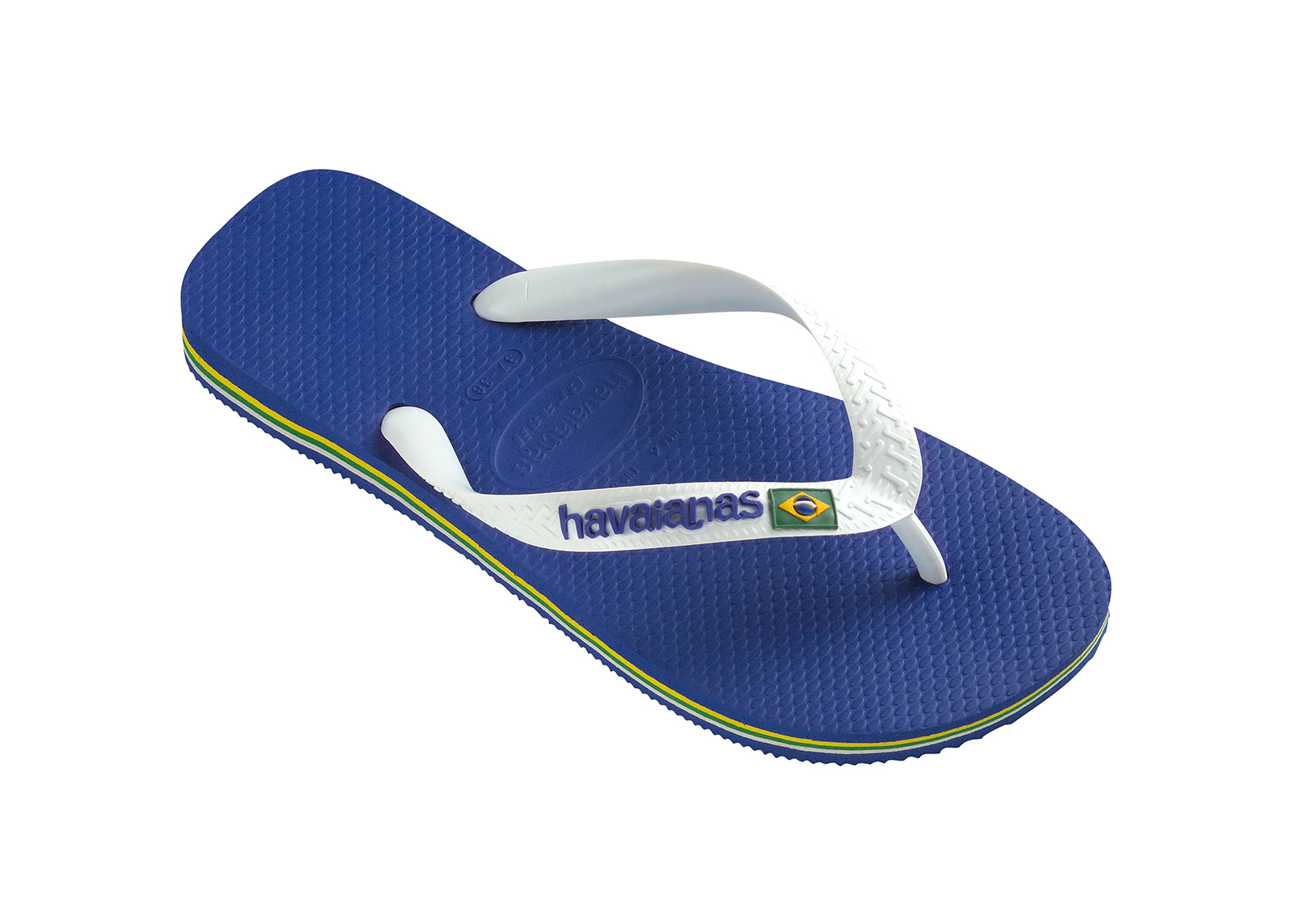 5217eed340212 ... Blue and white flip flops from Havaianas with logo - Brasil Logo Marine  Blue