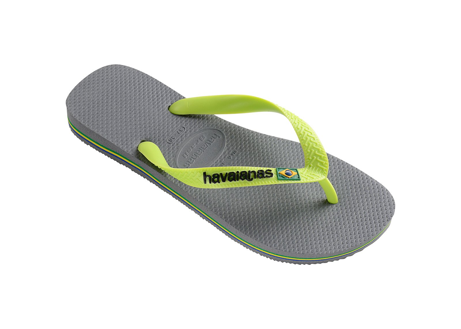 6f4cad0ee9517 Two-tone Grey And Lime Green Flip Flops With The Havaianas Logo - Brasil  Logo Steel Grey - Havaianas