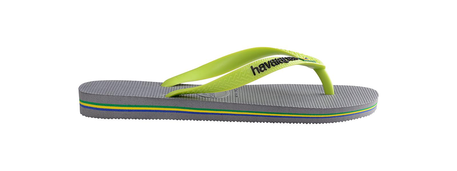 Zweifarbige Zehentrenner, Grau Und Grün, Mit Dem Logo Von Havaianas ...