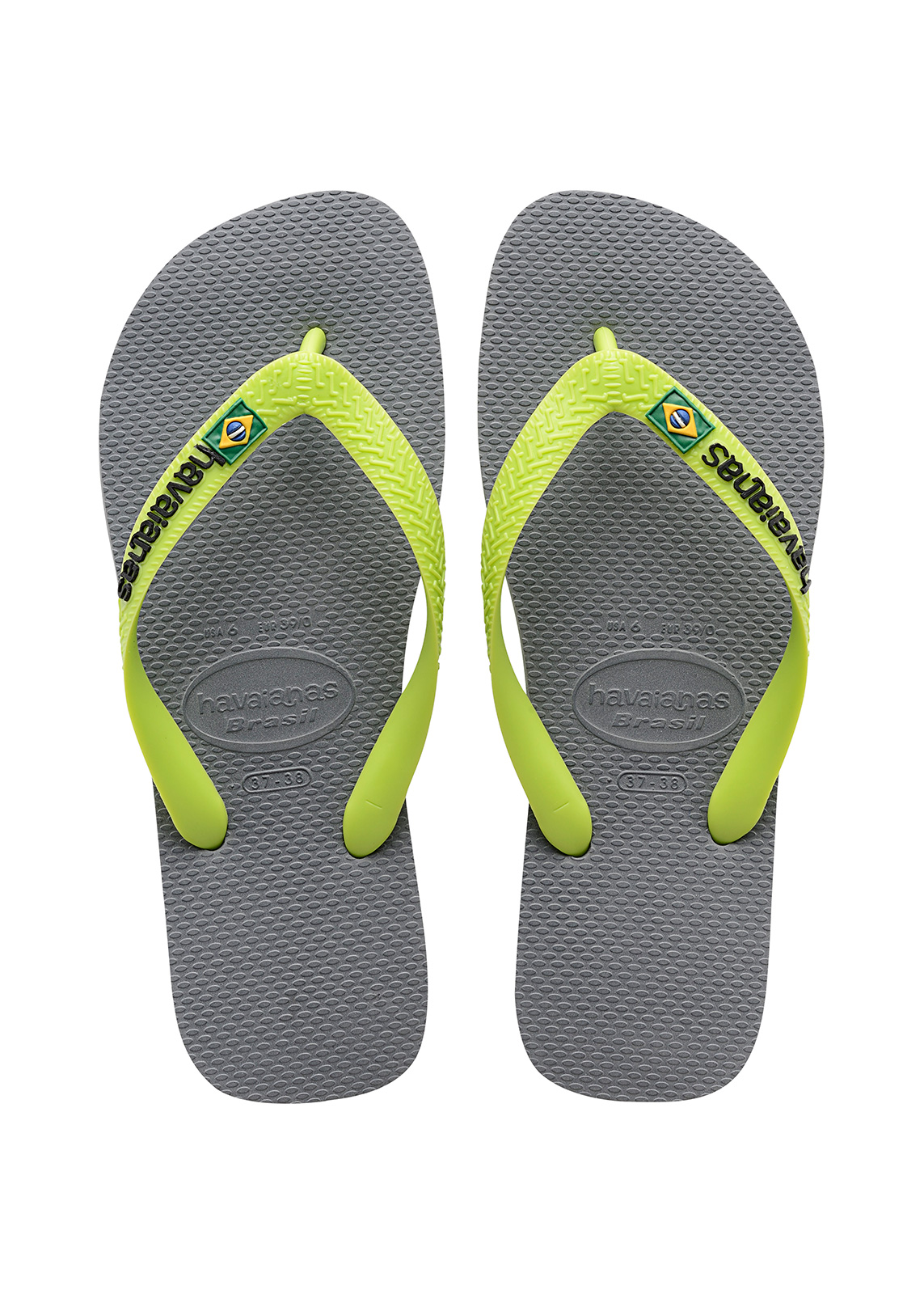 02e26f70006c5d ... Two-tone grey and lime green flip flops with the HAVAIANAS logo - Brasil  Logo ...