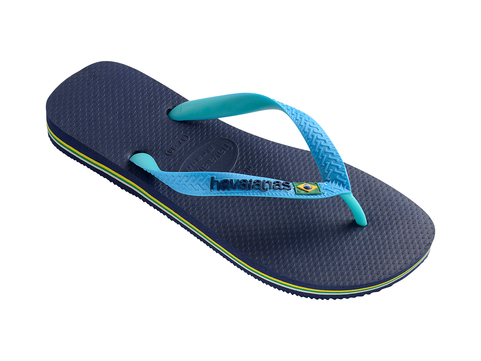 eeea5dfcb4516 Two-toned Flip Flops Featuring A Navy Blue Footbed And Turquoise Straps - Brasil  Mix Navy Blue turquoise - Havaianas